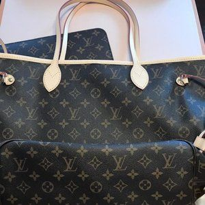 Neverfull Mm Beige Lining with Pouch Canvas Tote
